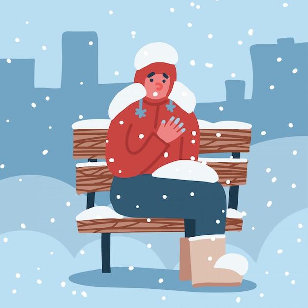 Człowiek Cierpi Na Odmrożenia. Facet Z Zamarzniętymi Rękami Zimą Siedzi Na ławce Pokrytej śniegiem Zimą. Ilustracja Ręcznie Rysowane. Premium Wektorów