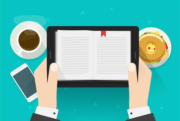 Człowiek Czytający Książkę Cyfrową, Czytnik Notatników Elektronicznych Na Komputerze Typu Tablet Osobiście Premium Wektorów