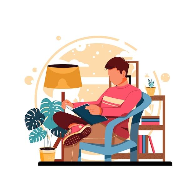 Człowiek Czytanie Książki Ilustracja Premium Wektorów