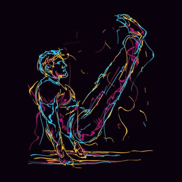 Człowiek Fitness Streszczenie Robi V Siedzieć Ilustracja Premium Wektorów
