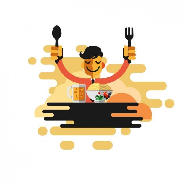 Człowiek jedzenia makaronu Darmowych Wektorów