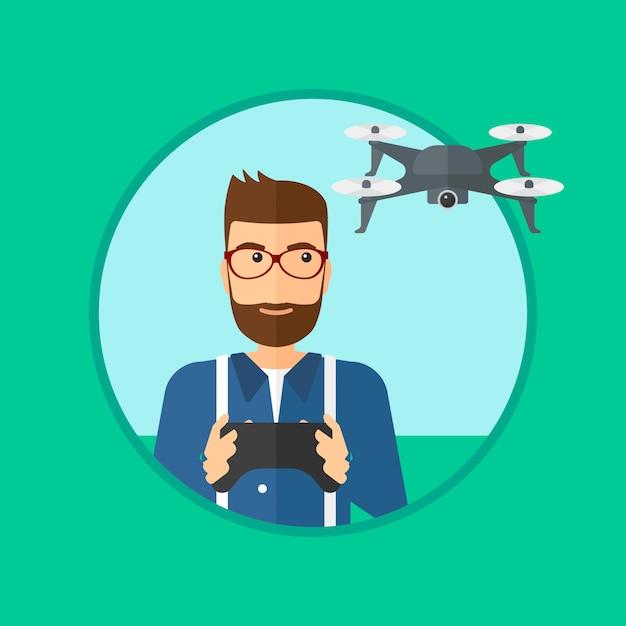 Człowiek latający dron. Premium Wektorów