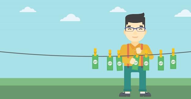 Człowiek Loundering Pieniądze Ilustracji Wektorowych. Premium Wektorów