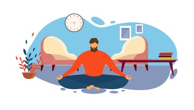 Człowiek medytuje na podłodze pokój dzienny w pozycji lotosu Premium Wektorów