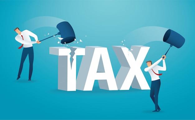 Człowiek niszcząc słowo podatek młotkiem Premium Wektorów