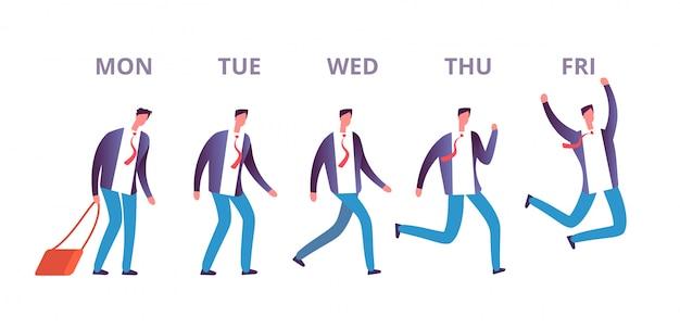 Człowiek Piątek Koncepcja. śmieszny Biznesmen Czuje Się Szczęśliwy Przechodząc Przez Dni Tygodnia Do Weekendu. Szczęśliwy Piątek Wektor Koncepcja Premium Wektorów