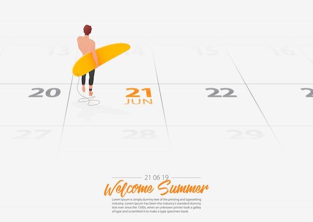 Człowiek Posiadający Deskę Surfingową Oznaczone Datę Rozpoczęcie Sezonu Letniego W Kalendarzu 21 Czerwca 2019 Roku. Premium Wektorów