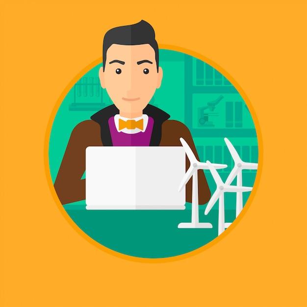 Człowiek pracuje z model turbin wiatrowych na stole. Premium Wektorów