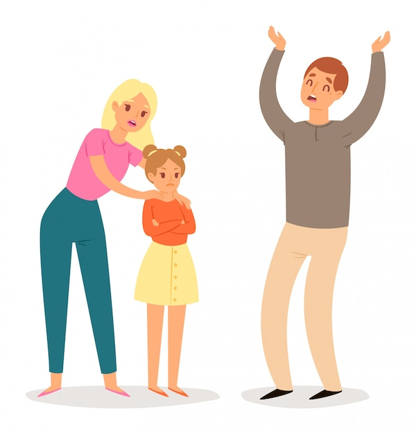 Człowiek prosi rodzinę o przebaczenie Premium Wektorów