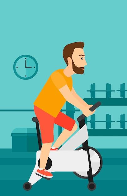 Człowiek robi ćwiczenia na rowerze Premium Wektorów