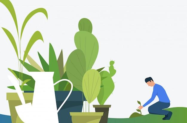 Człowiek Rośnie Roślin Na Zewnątrz I Zielone Rośliny Doniczkowe W Doniczkach Darmowych Wektorów