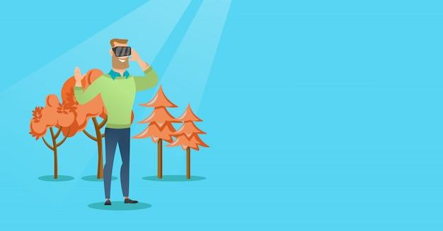 Człowiek sobie słuchawki wirtualnej rzeczywistości w parku Premium Wektorów