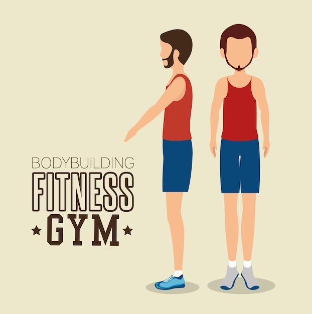 Człowiek stanowią różne kulturystyki fitness siłownia ikona designu Premium Wektorów