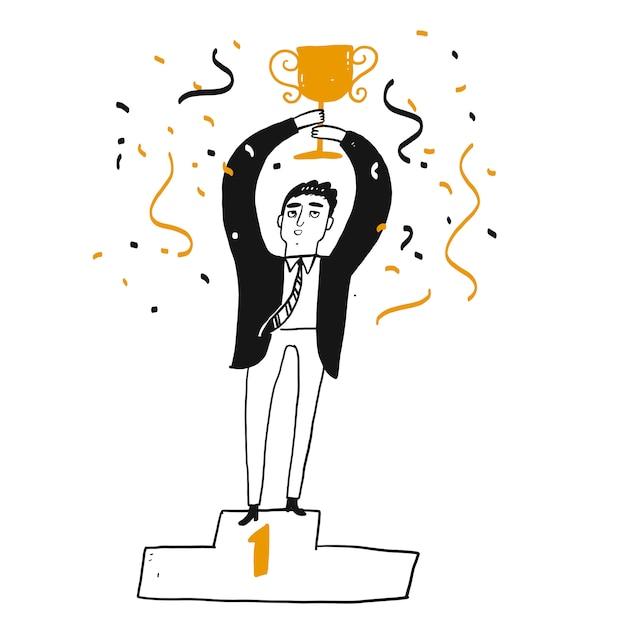 Człowiek Sukcesu W Biznesie Trzyma Trofeum Premium Wektorów