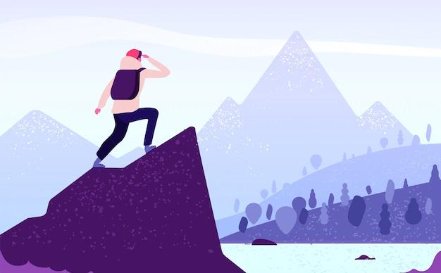 Człowiek W Górskiej Przygodzie. Wspinacz Stojący Z Plecakiem Na Skale Wygląda Na Górski Krajobraz. Koncepcja Podróży Natura Turystyka Premium Wektorów