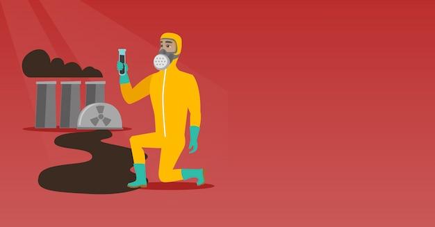 Człowiek w masce gazowej i kombinezon ochronny przed promieniowaniem. Premium Wektorów