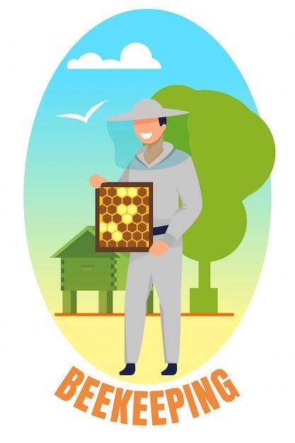 Człowiek W Mundurze Gospodarstwa Ramki Z Plastrów Miodu Pszczoły. Premium Wektorów