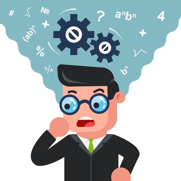 Człowiek w okularach myślenia o rozwiązaniu problemu Premium Wektorów