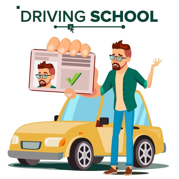 Człowiek W Szkole Jazdy Premium Wektorów
