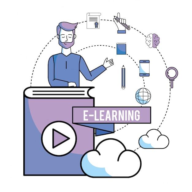 Człowiek z edukacją książki online i ładowaniem chmury Premium Wektorów