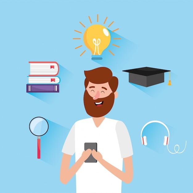 Człowiek z książkami edukacji i technologii smartphone Premium Wektorów