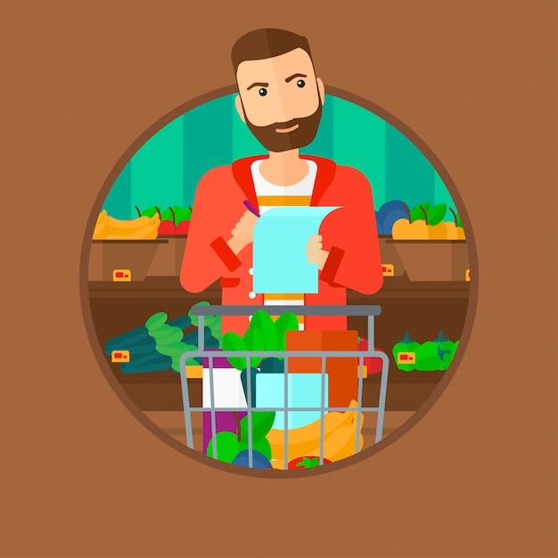 Człowiek Z Listą Zakupów. Premium Wektorów