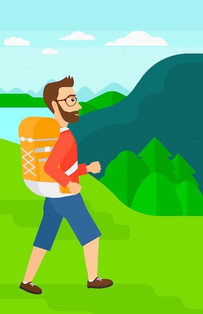 Człowiek Z Plecakiem Piesze Wycieczki. Premium Wektorów