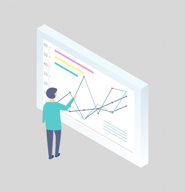 Człowiek z tablicy do pisania wykresów z kreskówek Premium Wektorów