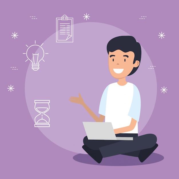 Człowiek z technologią laptopa i dane informacyjne Darmowych Wektorów