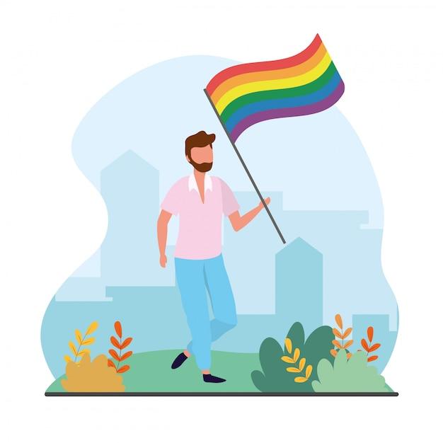 Człowiek Z Tęczową Flagą Do Parady Wolności Premium Wektorów