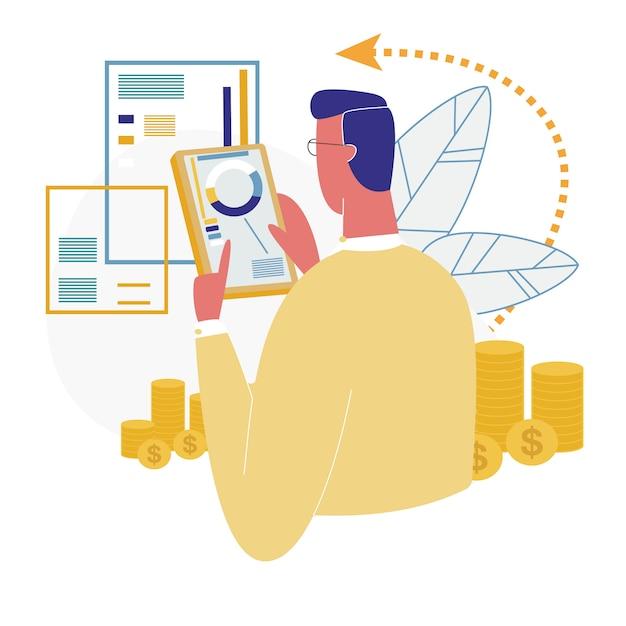 Człowiek za pomocą analizy finansowej aplikacji mobilnej bankowości Premium Wektorów