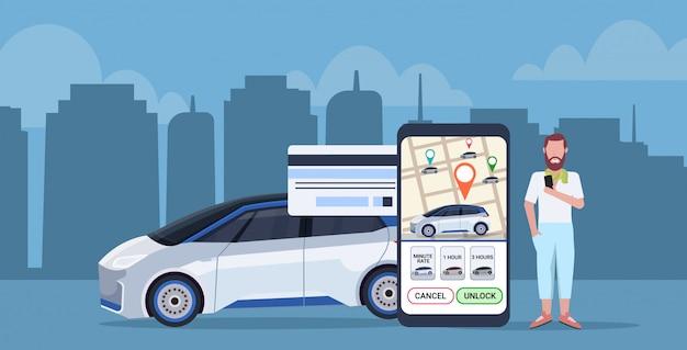 Człowiek Za Pomocą Aplikacji Mobilnej Online, Płacąc Za Taksówkę Udostępnianie Samochodu Ekran Smartfona Koncepcja Z Mapą Miasta Transportu Usługi Aplikacji Carsharing Pełnej Długości Premium Wektorów
