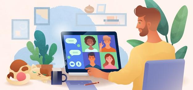 Człowiek Za Pomocą Komputera Przenośnego Na Czacie Z Kolegami Online W Przytulnym Biurze Domowym Ilustracji Wektorowych Premium Wektorów