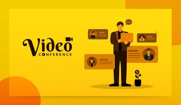 Człowiek Za Pomocą Laptopa Do Wideokonferencji Ze Swoim Zespołem, Koncepcja Spotkania Online Premium Wektorów