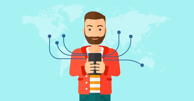 Człowiek Za Pomocą Smartfona. Premium Wektorów