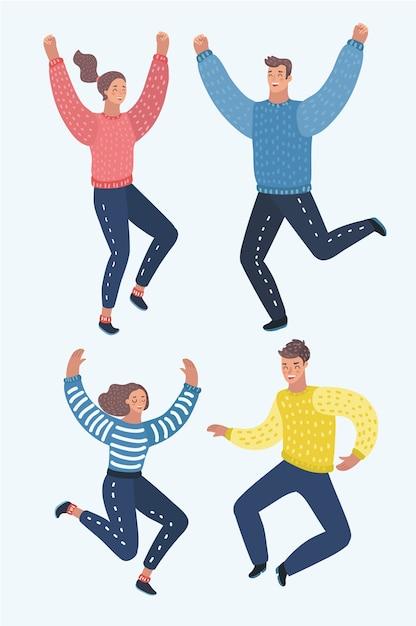 Czterech Szczęśliwych Dzieci, Chłopców I Dziewcząt, Skacząc Z Podniecenia, Ilustracje Na Białym Tle. Szczęśliwe, Wesołe Dzieci Z Kreskówek śmieją Się I Skaczą Ze Szczęścia Premium Wektorów