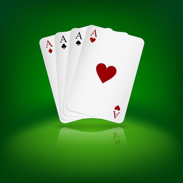 Cztery asy karty do gry na zielonym tle. Premium Wektorów