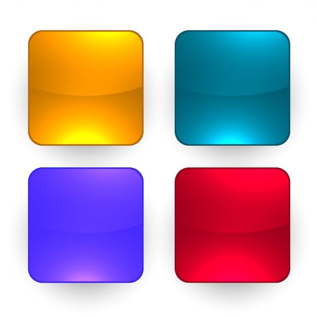 Cztery błyszczące pusty zestaw przycisków Darmowych Wektorów