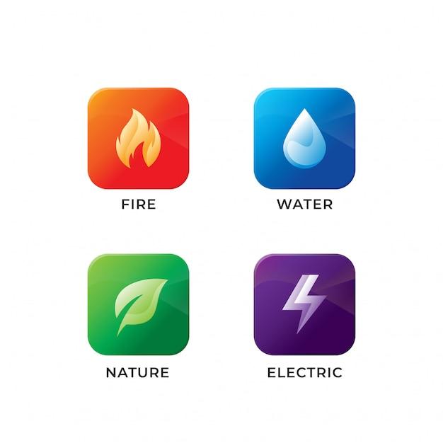 Cztery Elementy Ikona Designu Premium Wektorów