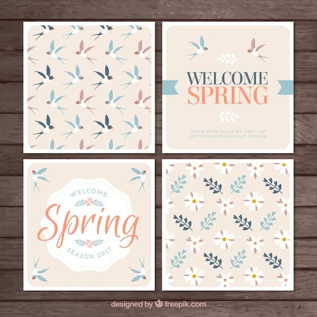Cztery karty wiosna w stylu vintage Darmowych Wektorów