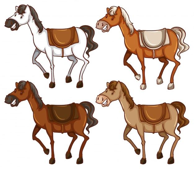 Cztery Konie Darmowych Wektorów