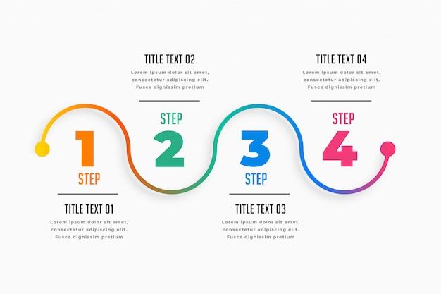 Cztery Kroki Infographic Osi Czasu Szablon Darmowych Wektorów