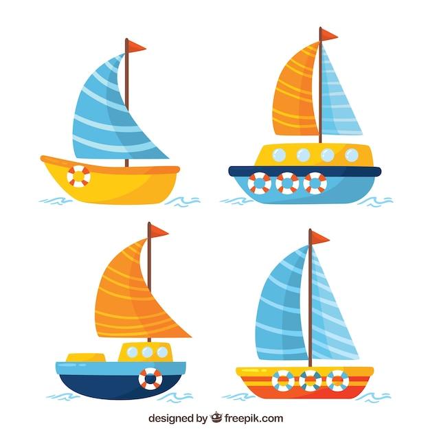 Cztery łodzie W Płaskim Stylu Darmowych Wektorów