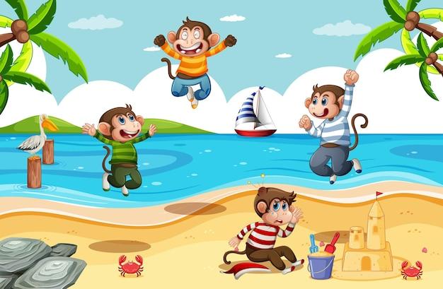 Cztery Małe Małpy Skaczące Na Plaży Darmowych Wektorów