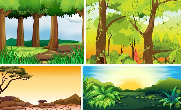 Cztery Różne Sceny Natury Leśnego Stylu Kreskówki Darmowych Wektorów
