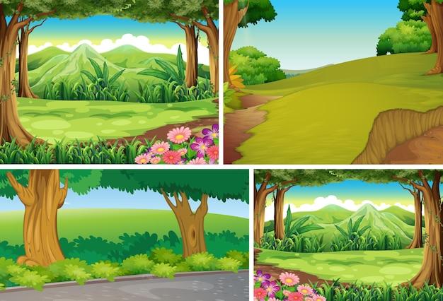 Cztery Różne Sceny Natury Stylu Cartoon Lasu Darmowych Wektorów