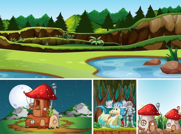 Cztery Różne Sceny świata Fantasy Z Miejscami I Postaciami Fantasy Darmowych Wektorów