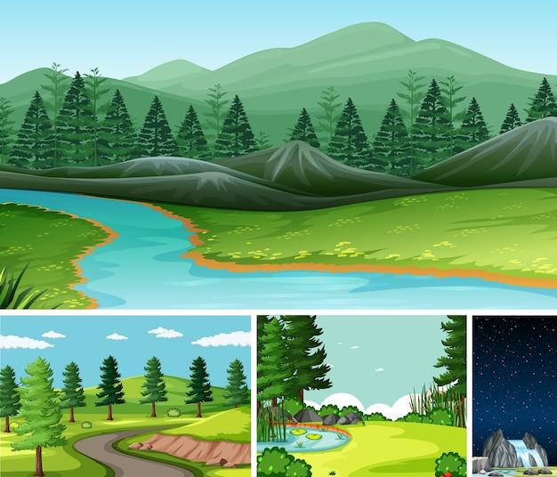 Cztery Różne Sceny W Stylu Cartoon Ustalającym Charakter Darmowych Wektorów
