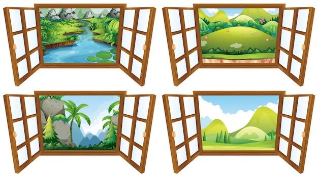 Cztery Sceny Przyrody Z Ilustracji Okien Darmowych Wektorów