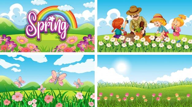 Cztery Sceny Tła Z Dziećmi I Zwierzętami W Parku Premium Wektorów
